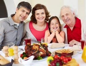 Having Thanksgiving dinner