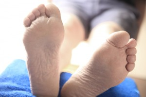 Man with feet raised