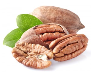 Pecan nuts in closeup